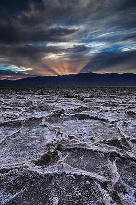 Sunset Over Badwater Poster by Andrew Soundarajan