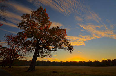 Sunset Over Barnes Field Poster by Mike Talplacido