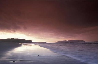 Sunset Over Beach At Pasagshak Bay Poster