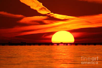 Sunset Over Causeway Poster by Luana K Perez