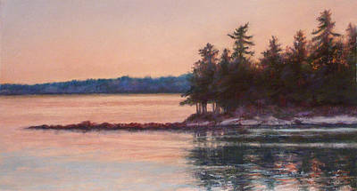 Sunset Over Emerald Point Lake Sebago Maine    Poster
