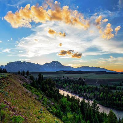 Sunset Over Grand Teton National Park Poster