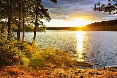 Sunset Over Lake Poster by Elena Elisseeva