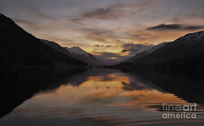 Sunset Over Loch Doine Poster by Buster Brown