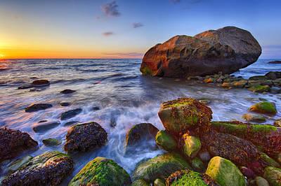 Sunset Over Long Island Sound Poster by Rick Berk
