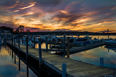 Sunset Over Marina On Mystic River Poster