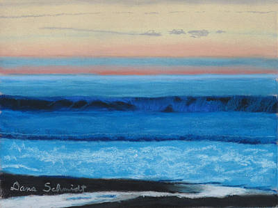 Sunset Over Pacfic Ocean Surf Poster