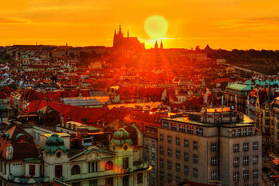 Sunset Over Prague Poster