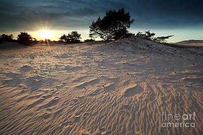 Sunset Over Sand Dune Poster