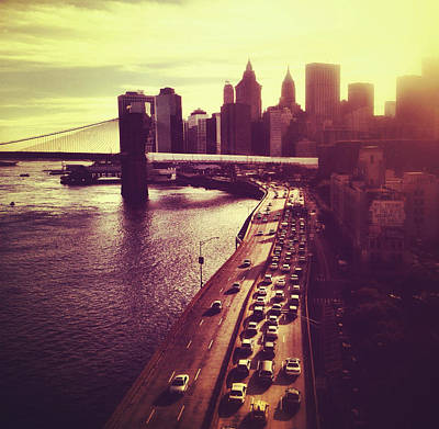 Sunset Over The Brooklyn Bridge And New York City Skyline Poster by Vivienne Gucwa