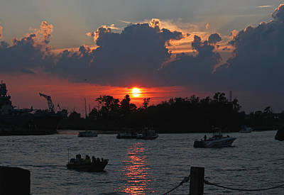 Sunset Over The Cape Fear IIi Poster by Suzanne Gaff