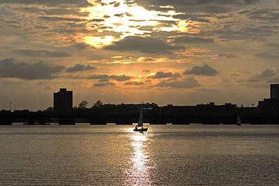 Sunset Over The Charles River Poster