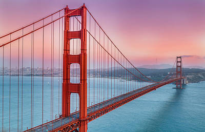 Sunset Over The Golden Gate Bridge Poster by Sarit Sotangkur