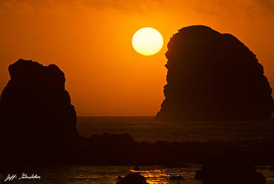 Sunset Over The Pacific Ocean With Rock Stacks Poster by Jeff Goulden
