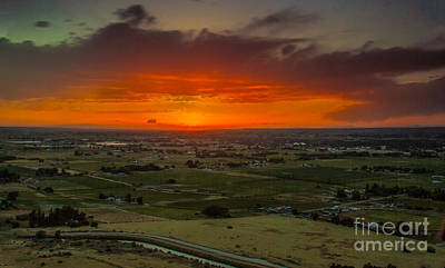 Sunset Over The Valley Poster by Robert Bales