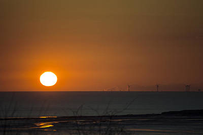 Sunset Over The Windfarm Poster