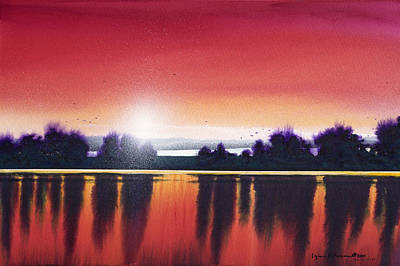 Sunset Over Two Lakes Poster