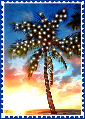 Sunset Palm Tree With Xmas Lights Stamp Poster by Elaine Plesser