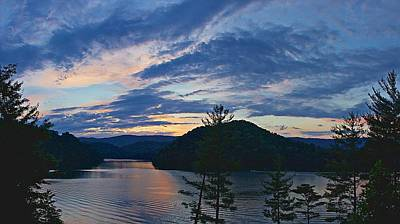 Sunset Pano - Watauga Lake Poster by Tom Culver