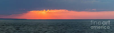 Sunset Panorama Over Ocean Poster by Elena Elisseeva