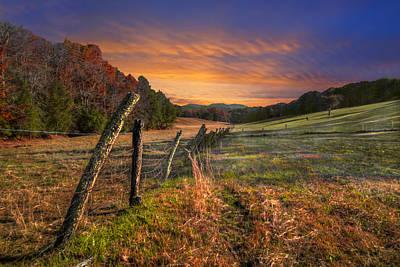 Sunset Pastures Poster by Debra and Dave Vanderlaan