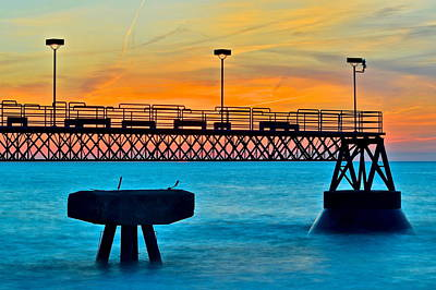 Sunset Pier Poster by Frozen in Time Fine Art Photography