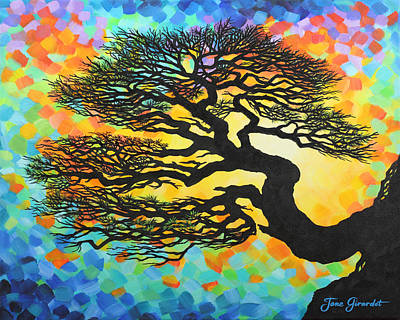 Poster featuring the painting Sunset Pine by Jane Girardot