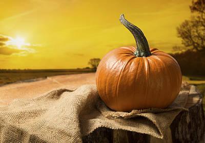 Sunset Pumpkin Poster by Amanda Elwell