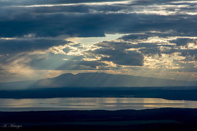 Sunset Rays Over Mount Susitna Poster