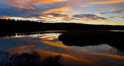 Sunset Reflecting Off Seawall Pond Acadia National Park Photograph Poster by Keith Webber Jr
