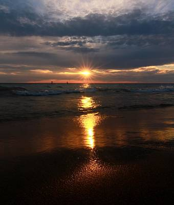 Sunset Reflection On Lake Michigan Poster by Dan Sproul