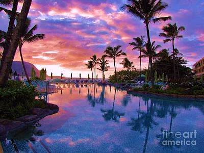 Poster featuring the photograph Sunset Reflection St Regis Pool by Michele Penner