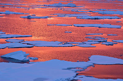 Sunset Reflections, Greenland Sea, East Poster