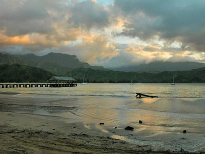 Sunset Reflections - Hanalei Pier Poster by Stephen  Vecchiotti