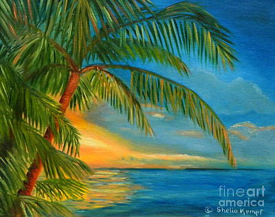 Poster featuring the painting Sunset Reflections - Key West Sunset And Palm Trees by Shelia Kempf