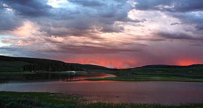 Sunset Reflections Over Yellowstone River In Hayden Valley Poster