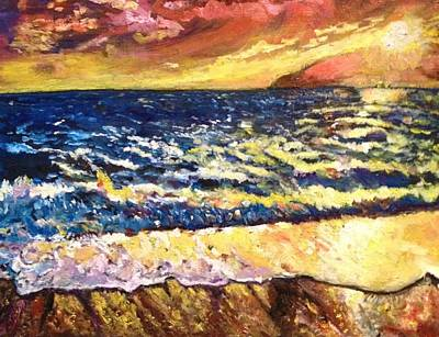 Poster featuring the painting Sunset Rest - Drama At Sea by Belinda Low