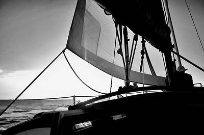 Poster featuring the photograph Sunset Sail In Black And White by Pamela Blizzard