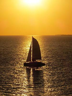Poster featuring the photograph Sunset Sail by Jennifer Wheatley Wolf