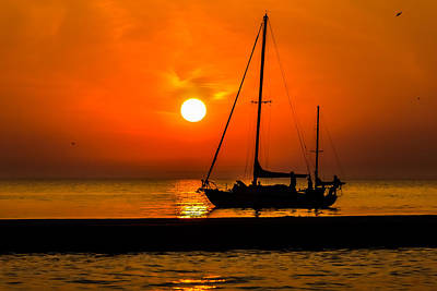 Sunset Sail Poster by Peter Scott