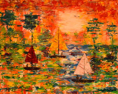 Poster featuring the painting Sunset Sailing by Denise Tomasura