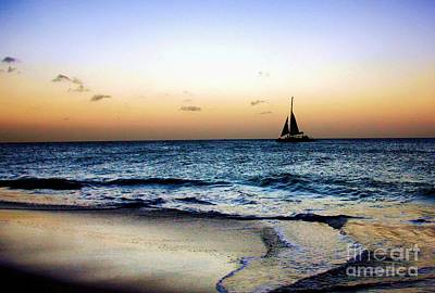 Sunset Sailing In Aruba Poster by Polly Peacock