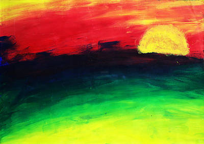 Poster featuring the painting Sunset by Salman Ravish