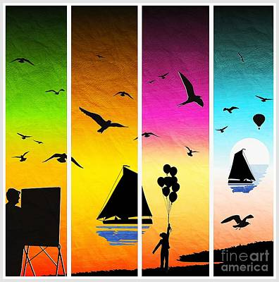 Sunset Seascape With Sailboats Poster by Stefano Senise