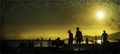 Poster featuring the photograph Sunset Silhouette Of People At The Beach by Peter v Quenter