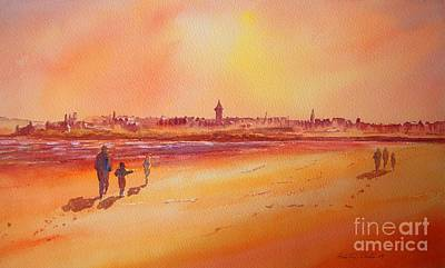 Poster featuring the painting Sunset St Andrews Scotland by Beatrice Cloake