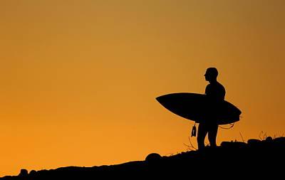 Sunset Surfing Poster by Liz Vernand