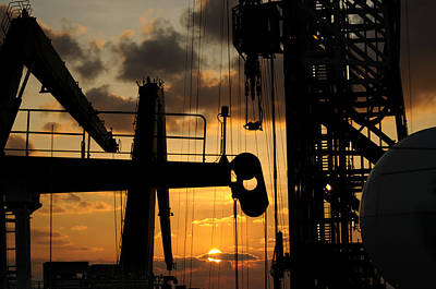 Sunset Viewed From An Oil Rig Poster by Bradford Martin