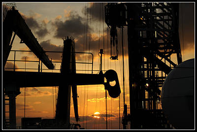 Sunset Viewed From An Oil Rig W Border Poster by Bradford Martin