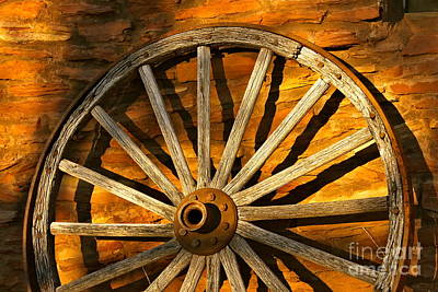 Sunset Wagon Wheel Poster